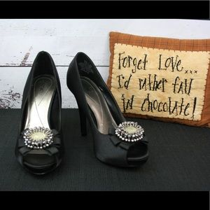 Apt. 9 satin heels with embellishment in EUC!